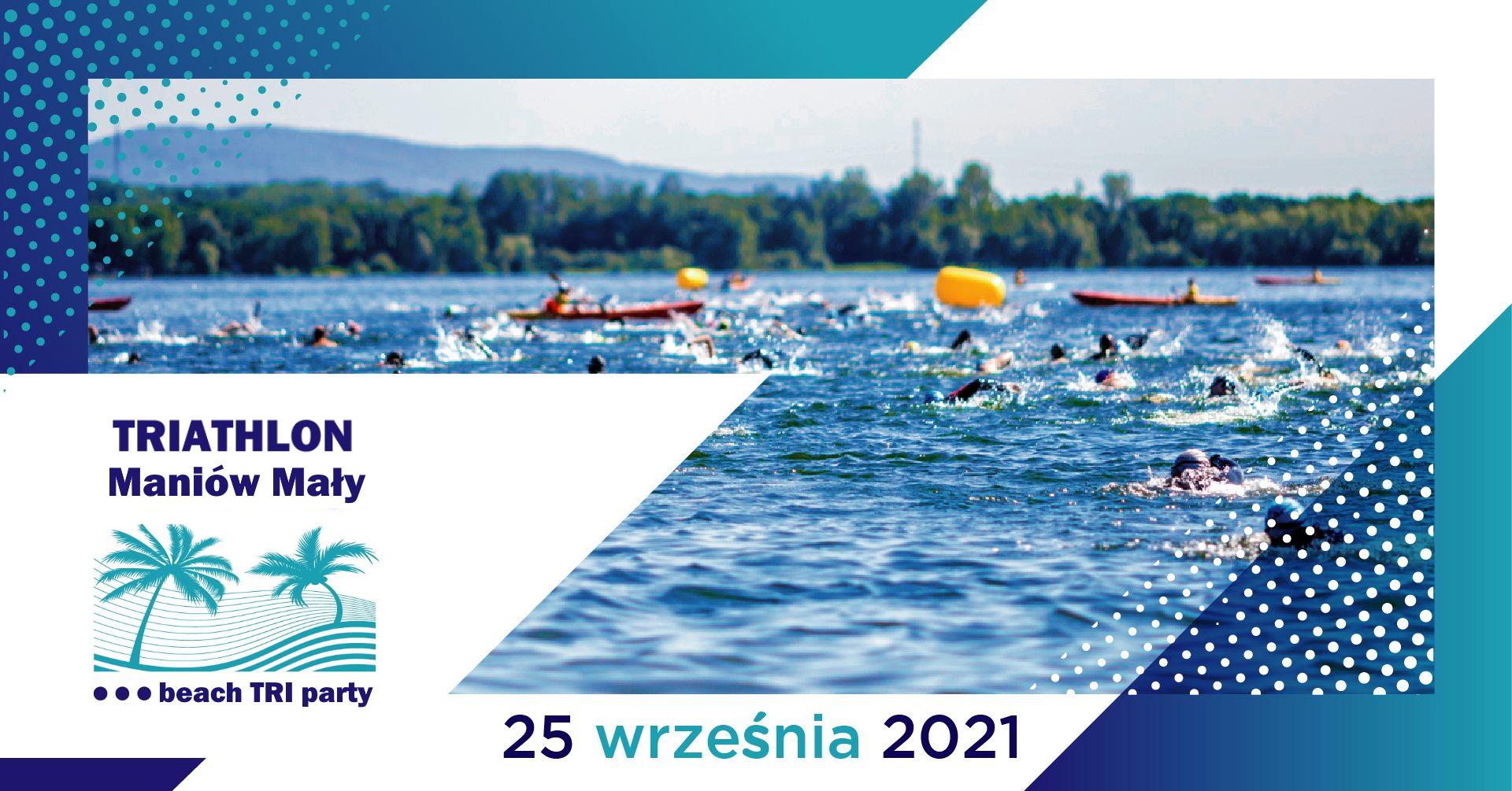 Logo Zawodów Triathlon Maniów Mały - beach Tri party 2021