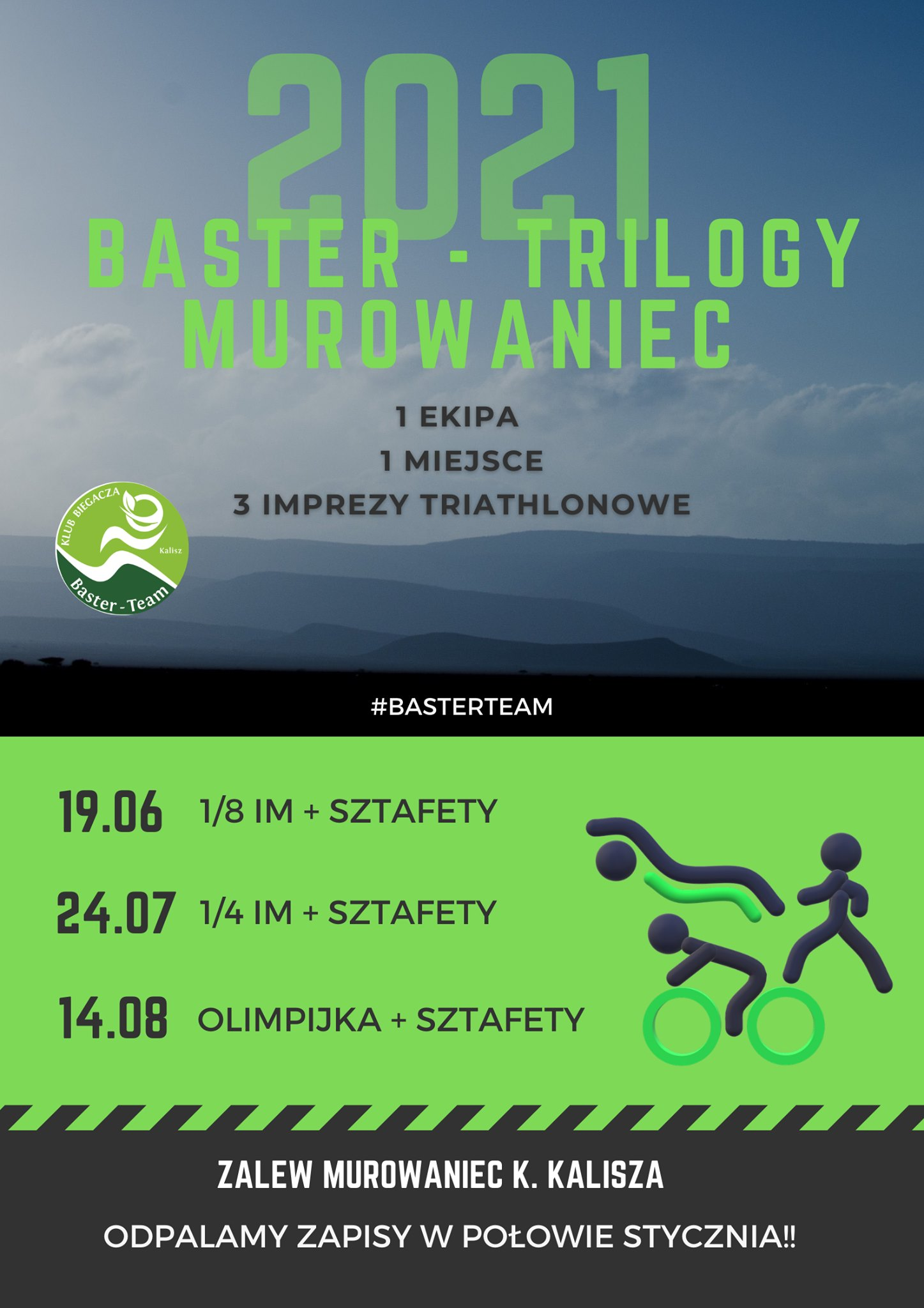 Logo Zawodów Baster Tri Murowaniec Triathlon 2021 - 1/4 ironman