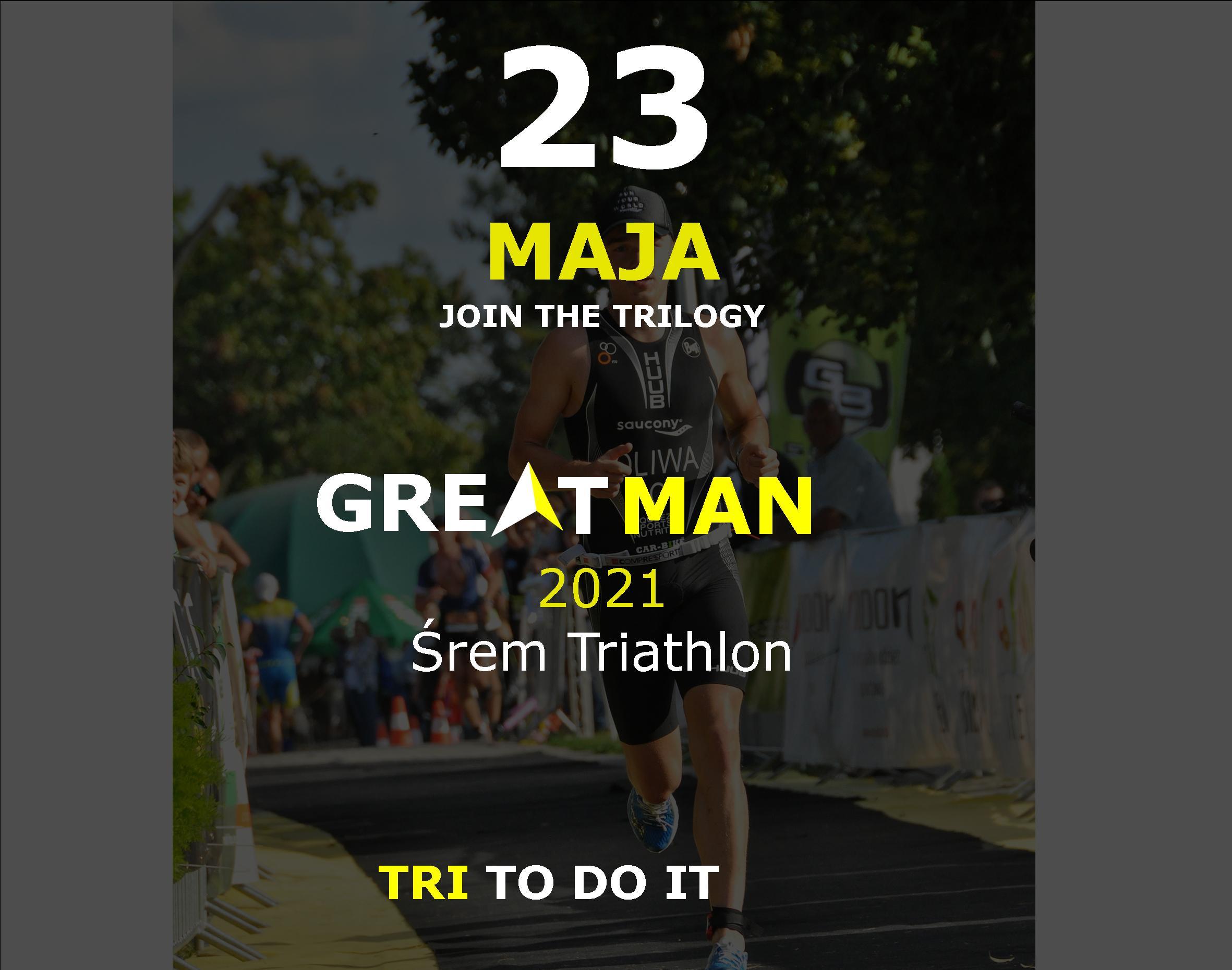 Logo Zawodów Greatman Śrem Triathlon 2021