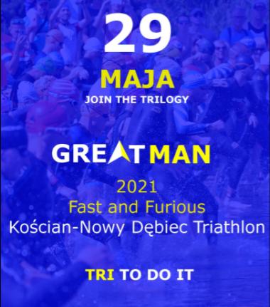 Logo Zawodów Greatman Kościan Triathlon Maj 2021