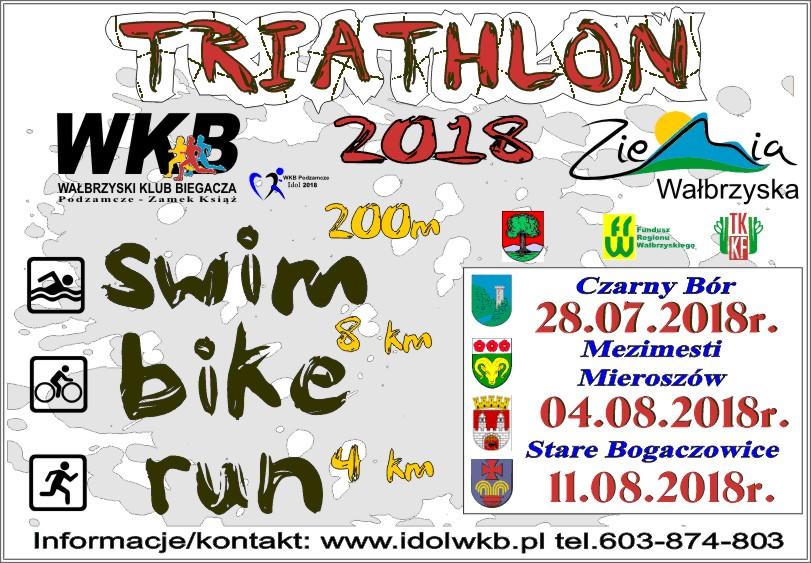 Logo Zawodów Triathlon o Puchar Wójta Gminy Czarny Bór - Zalew Grzędy 2018
